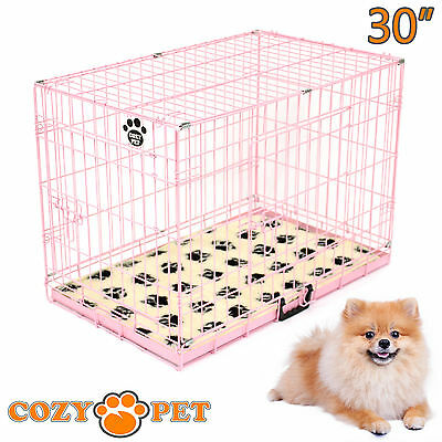 Dog Cage Puppy Crate Cozy Pet 30 inch With Paw Print Vet Bedding Pink Dog Crate