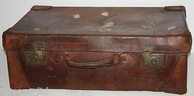 Antique Vintage  Large Brown Leather Suitcase Luggage With Initials  D.p.c