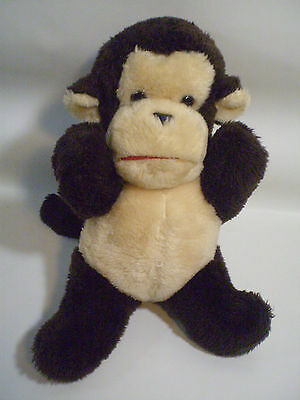 """Vintage 12"""" Mighty Star Montreal Quebec Canada Brown Monkey Chimp Plush Ape"""