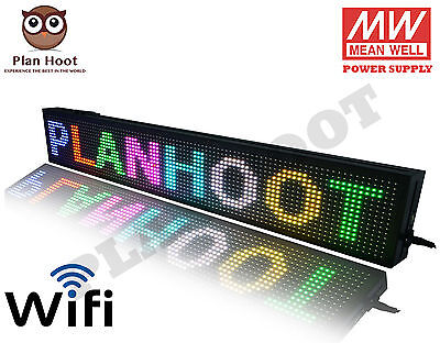 """40""""x8"""" Led Scrolling Sign - Wifi Rgb 7 Colors For Semi Outdoor And Indoor Use"""