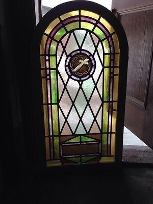 Sg 119 Antique Arch Top Stainglass Window With Cross And Thorns