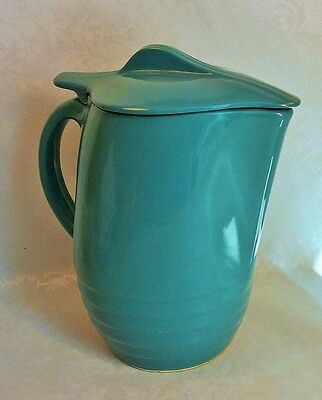 Teal Ringed Water Pitcher with Lid by Universal Pottery Oxford Ware 1950's
