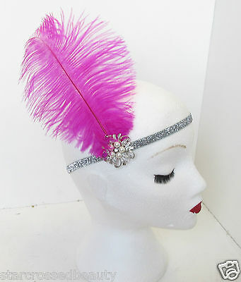 Hot Pink Silver Ostrich Feather Flapper Headpiece 1920s Vtg Headband Pearl M68