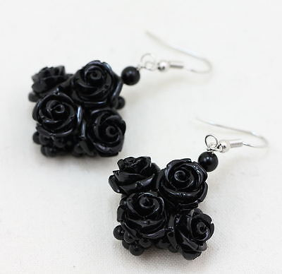 Orecchini Onice Naturale Tessita Centrale Rose Nere Dark Earrings