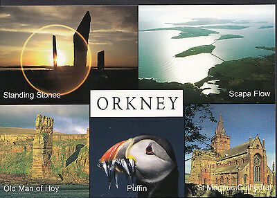 Scotland Postcard - Views of Orkney - Puffin, Standing Stones, Scapa Flow LC4372