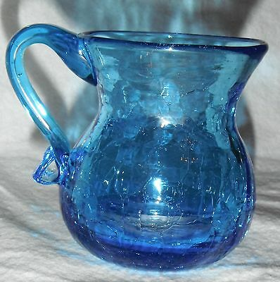 VINTAGE CRACKLE GLASS BLUE PITCHER OR SUGAR BOWL 2 3/4 INCHES TALL