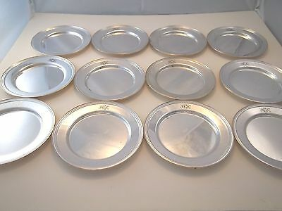 SET OF 12 SILVER ON COPPER BREAD AND BUTTER PLATES B&B TRAYS SILVERPLATE COASTER