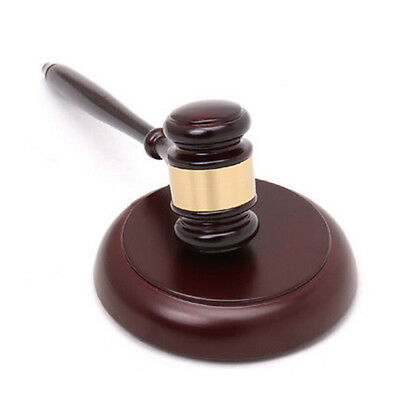 Wood Handcrafted Gavel + Round Sound Block Lawyer Judge Auction Sale Gift