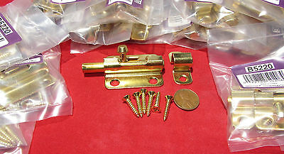 "30 Pieces - Brainerd 2 1/2"" Barrel Bolts - Brass Plated Window / Door Slide Lock"