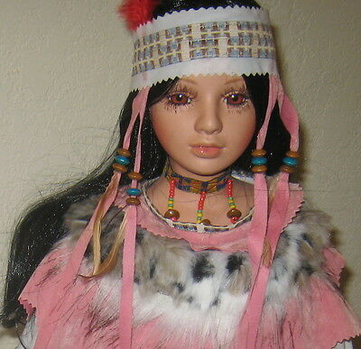 BEAUTIFUL INDIAN MAIDEN PORCELAIN DOLL WHITE DRESS WITH FUR & PINK TRIM