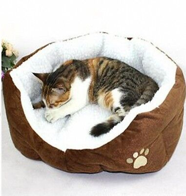 Brand New Dog Cat Soft Fleece Winter Warm Brown Bed House Nest Mat Pad Washable