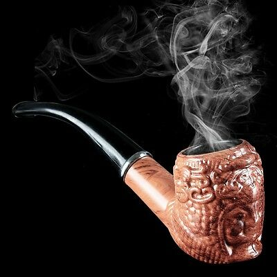 new Vogue Noble Handmade Durable Carved Wooden Smoking Tobacco Pipe Gift