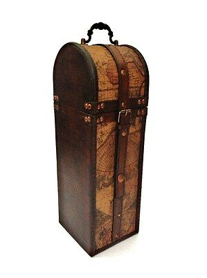 Vintage Colonial Old Map Design Wine Bottle Holder Storage Gift Box