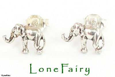 Pair of Solid 925 Sterling Silver Elephant Animal Novelty Stud Earrings