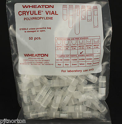 Wheaton STERILE 1.2ml Cryo Vials x 50 with seal in cap ref 985745 cryovial 1ml