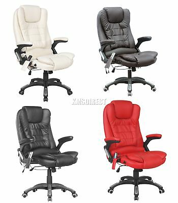 FoxHunter 8025 Leather 6 Point Massage Office Computer Chair Reclining Swivel