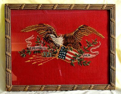 PATRIOTIC AMERICAN EAGLE WITH SHIELD NEEDLEPOINT FRAMED