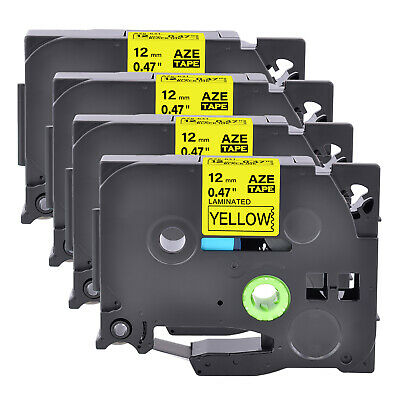 """4PK Black on Yellow Label Tape For Brother TZ TZe 631 Tze631 P-Touch 12mm 1/2"""""""