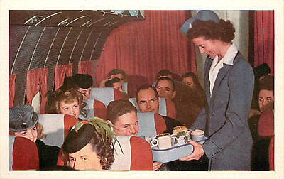 Stewardess serving a full course meal  ~UNITED AIRLINES~ Old Postcard, 1955