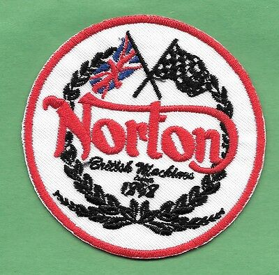 "New Norton British Motorcycles 'Red' 2 3/4  "" Inch Iron on Patch Free Shipping"