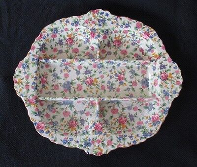 """Royal Winton """"Old Cottage Chintz"""" (Pre 1960, Cream) 5 Section Hors D'oeuvre Tray"""