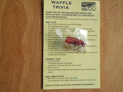 """Waffle House® """"I'm ready for the Holidays 2005"""" pin & Quiz card."""
