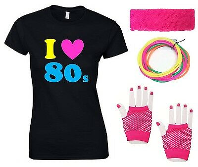 I LOVE THE 80s Ladies T-Shirt & Accessories Fancy Dress Costume Outfit Neon 80's