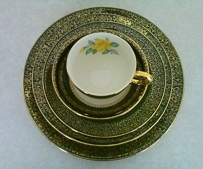 HOMER LAUGHLIN 'LADY GREENBRIAR' 5-PIECE PLACESETTING ~ WARRANTED 22K GOLD