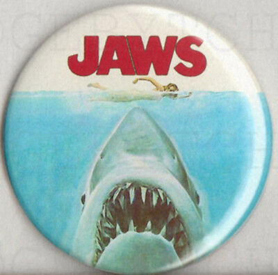 JAWS Badge Button Pin -  25mm and 56mm size  -SPIELBERG CLASSIC !