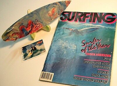 Simon Anderson Signed Mini Surfboard Vintage Magazine Trading Card Collection