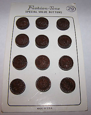 CARD OF 12 BUTTONS-VINTAGE COLLECTIBLE BROWN MOLDED PLASTIC-WOOD LOOKING-CRAFT