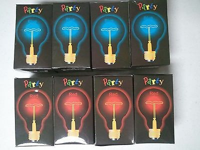 Lot of 4 - RED or BLUE Party Light Bulbs 25W 120V Standard Base NEW