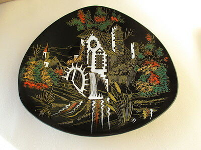 Longwy Hand Decorated Plate Le Moulin Du Village France French Paul Mignon 1950s