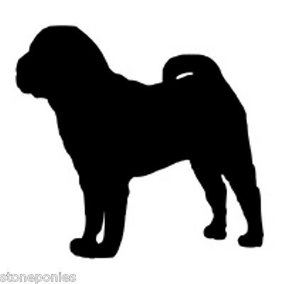 Shar Pei Dog Profile Silhouette Window Decal Black on Clear Backed Sticker