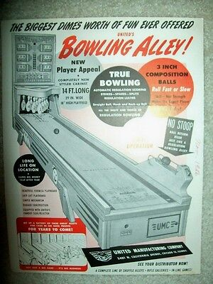 1956 United BOWLING ALLEY Ball Bowler Flyer