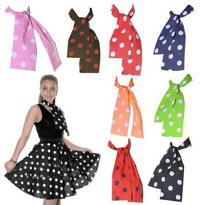 New Adults Polka Dot Fancy Dress Head or Neck Scarf  50's Grease Only Neck Tie