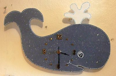 Lovely Decorative Handcrafted and painted WHALE Clock