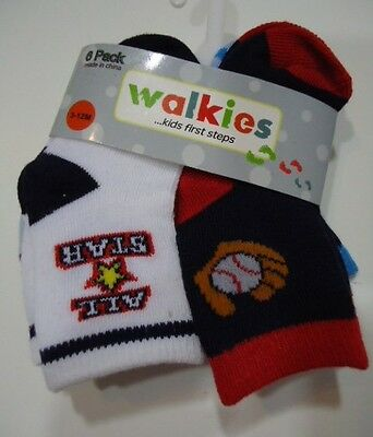 Walkies Baby Boy Infant Socks (6 pairs) - Size 3-12 months