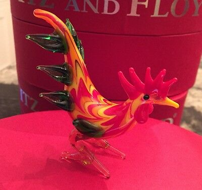 FITZ AND FLOYD GLASS MENAGERIE LIMITED EDITION SOPHIA ROOSTER  NEW BOX