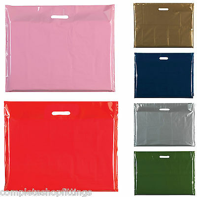"""Heavy Duty Colored Plastic Carrier Bags Party Gift Bags Size 22"""" X 18""""+4"""
