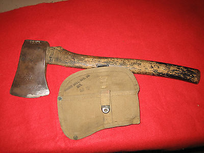 """U.S marked WWI Axe with Cover marked """"Brauer Bros. Mfg. Co. 1917"""""""
