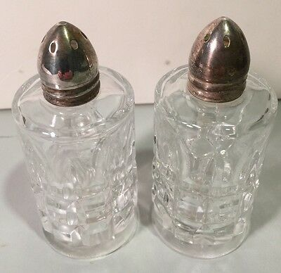 Vintage Clear Cut Glass Salt and Pepper Shakers with Silver Plated Tops