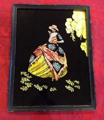 Beautiful Vintage Art Deco Era Framed Foil Lady In A Dress Picture