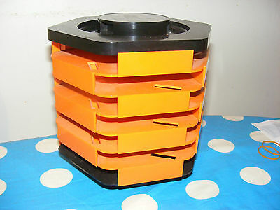 VINTAGE RETRO CASSETTE STORAGE UNIT  CASS.BAR HOLDS 22 TAPES ORANGE 70'S