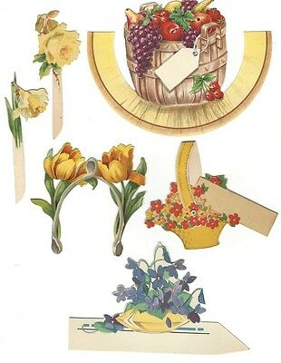 7. LOT OF 8 FLORAL PLACE CARDS / DIE CUT SCRAP / YELLOWS + FRUIT BASKET 1 BUZZA