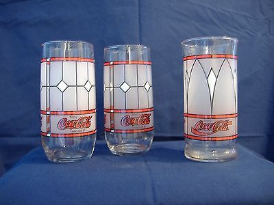 3 Red/White/Black Coca-Cola Frosted Glasses