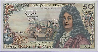 France 50 Francs Banknote 7-6-1962 Extra Fine Condition Cat#148-A-4652