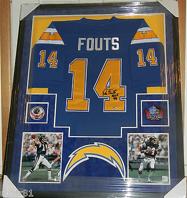 """DAN FOUTS SIGNED JERSEY FRAMED AUTO """"HOF 93"""" SUEDE PSA DNA SAN DIEGO CHARGERS"""
