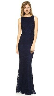 NWT Alice + Olivia Sachi Open Back Lace Gown Dress Navy Size 6