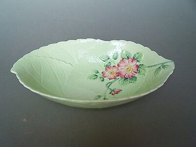 Carlton Ware Green Wild Rose Embossed Salad Ware Bowl Australian Design 2116 A/F